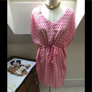 TALBOTS SIZE M pink and white cover up
